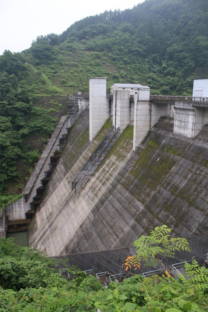 合角ダム 左岸から堤体を望む