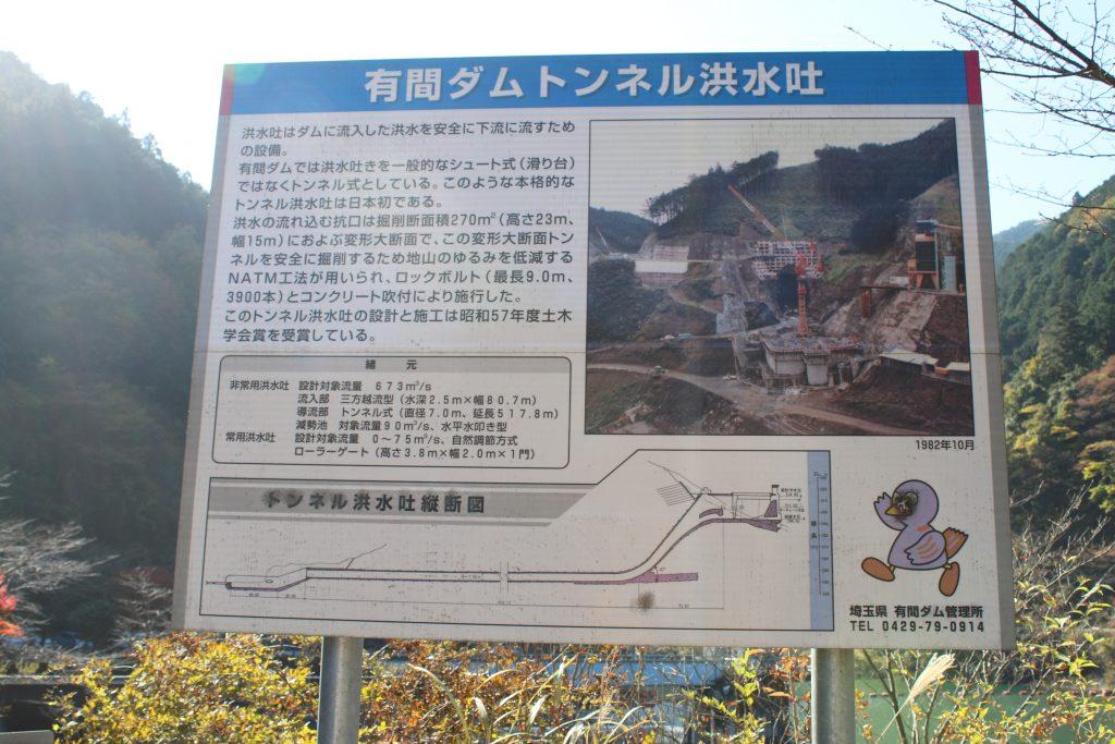 有間ダムトンネル洪水吐看板(2020年11月)