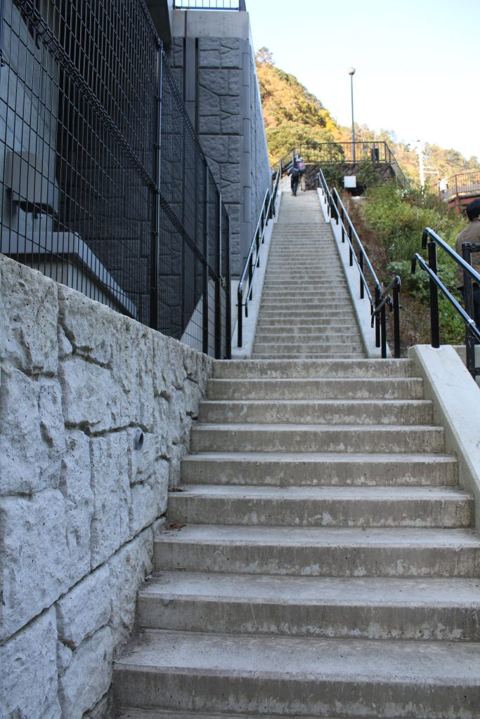 白丸調整池ダムの階段(2020年11月)