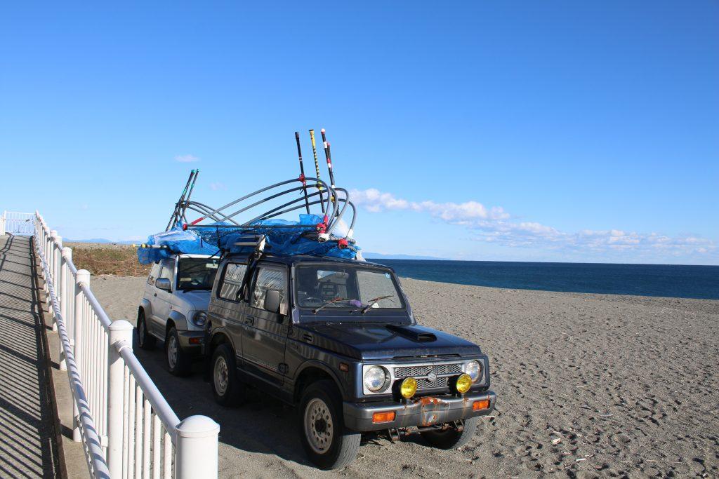 シラスウナギ漁具を積んだ四駆(2020年12月)