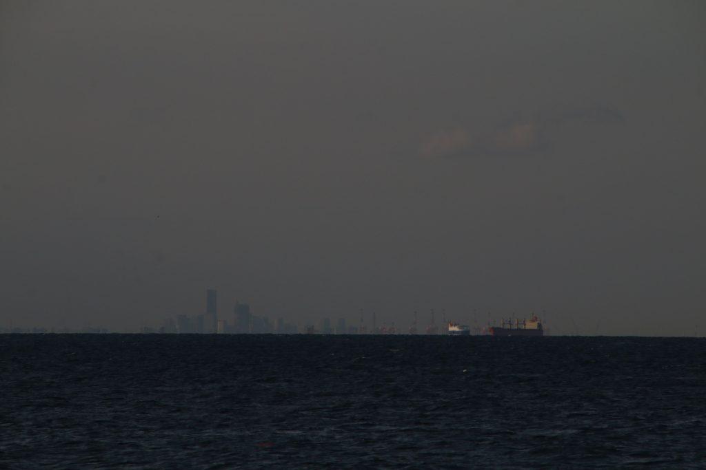 金谷港から横浜方面を望む(2021年2月)