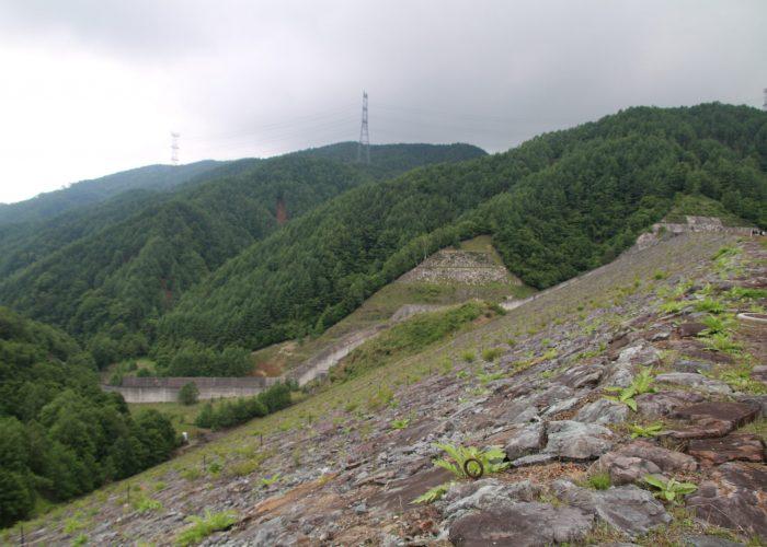 上日川ダム下流側堤体(2021年6月)