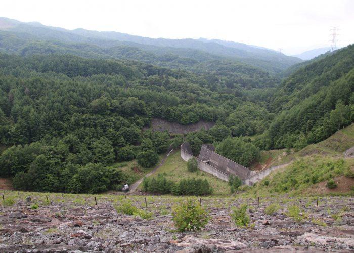 上日川ダムの洪水吐と遠景(2021年6月)